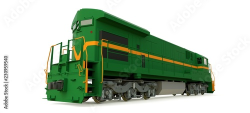 Modern green diesel railway locomotive with great power and strength