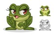 Female frog cartoon character mascot design, including flat and line art design, isolated on white background, vector clip art illustration.