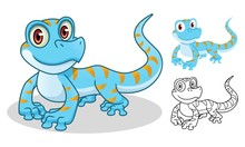 Gecko Cartoon Character Mascot Design, Including Flat And Line Art Design, Isolated On White Background, Vector Clip Art Illustration.