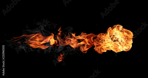 Photo Stands Fire / Flame Fireball isolated on black background