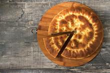 Round Pie On Dark Wooden Desk ...