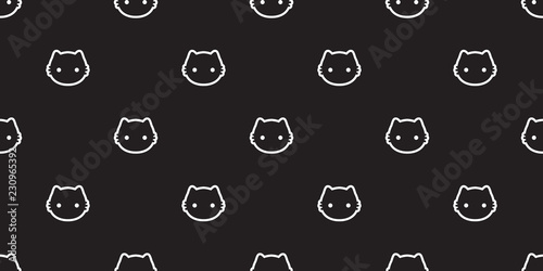 Cat Seamless Pattern Vector Kitten Calico Halloween Tile Background Scarf Isolated Wallpaper