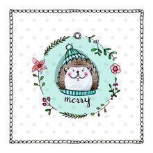 Cute Hedgehog Christmas Card