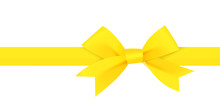 Yellow Bow With Horizontal Red Ribbon