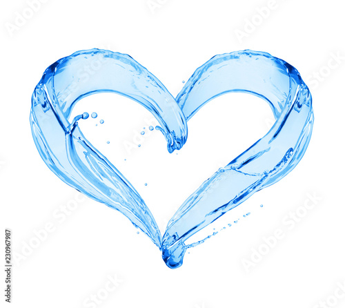 Photo Stands Personal Splashes of water in the shape of a heart. Сonceptual image on white background