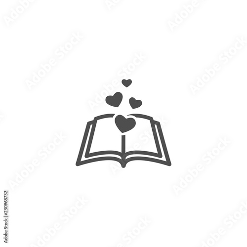 Photo Open book with pages and hearts flying out