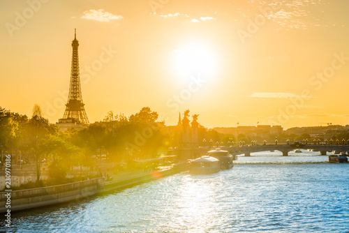 Beautiful sunset with Eiffel Tower and Seine river in Paris, France Wallpaper Mural