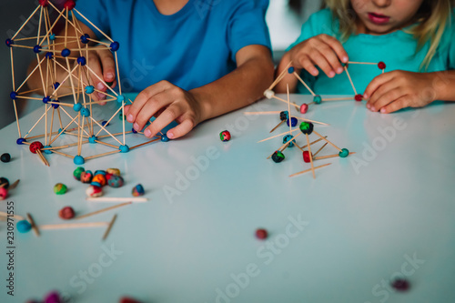kids making geometric shapes, engineering and STEM