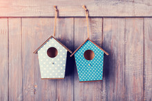 Two Birdhouses Hang On With Antique Rustic Wood Background.