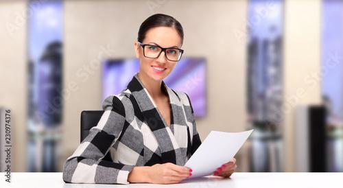 TV host, Female television announcer at studio Canvas Print