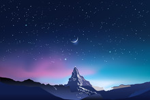 Snowy Mountains Silhouettes, Pink And Blue Night Sky Landscape With Stars, Starry Sky, Half Moon, Crescent, Vector Illustration