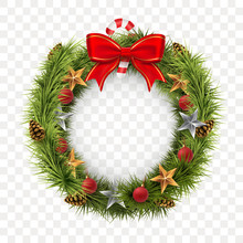 Round Christmas Wreath Isolated On Transparent Background. Spruce Wreath With Golden Stars, Xmas Balls, Red Bow And Lollipop. Traditional Winter Holiday Decoration. Vector Illustration.