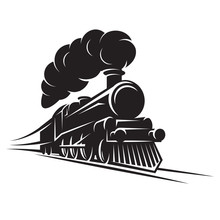 Monochrome Pattern For Design With Retro Train On Rails. Vector Scalable Illustration