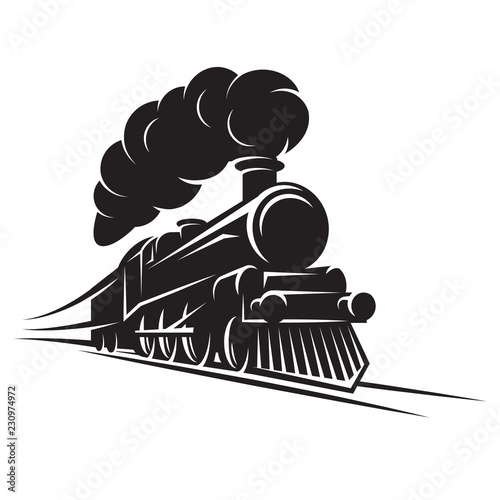 Fotomural Monochrome pattern for design with retro train on rails