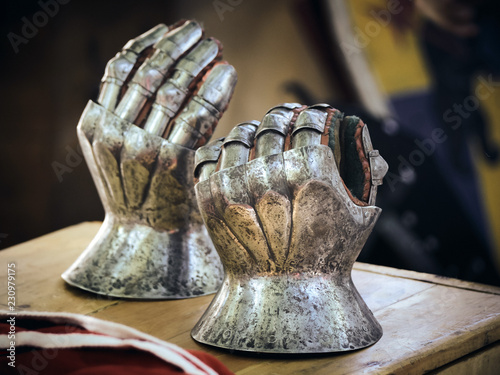 Closeup of antique steel gloves