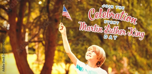 Fotografie, Obraz  Composite image of boy with american flag