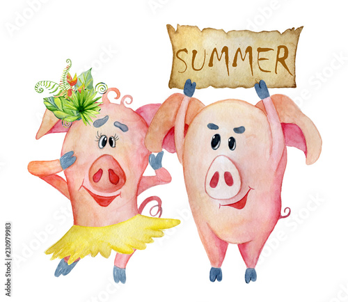 Christmas Pigs.Cute Christmas Pigs With Banner Summer Symbol Chinese New
