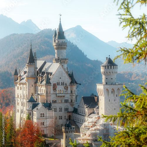 Photo sur Aluminium Piscine Beautiful view of world-famous Neuschwanstein Castle with Alpine mountains on Background, under sunlit. Wonderful sunny landscape in Alps. near Fussen, southwest Bavaria, Germany.