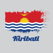 Brush Style Color Flag Of Kiribati, Red And Blue With The Yellow Frigate Bird Flying Over The Rising Sun And Three White Wavy. With Text Kiribati.