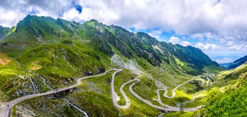wonderful sunny scenery. mountain road with perfect sky. Transfaganskaya highway, Europe, Romania Transfagasan road , Ridge Fagaras