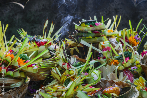 Foto op Aluminium Bali Offering to Hindu Gods in Bali island which called Canang and made from leaves and flowers