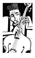 FototapetaJazz poster with double bass