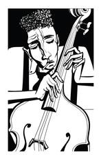 Fototapeta Muzyka / instrumenty Jazz poster with double bass