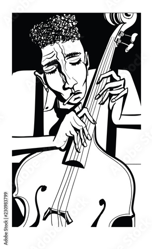Jazz poster with double bass