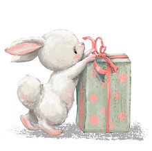 Cute Birthday Cartoon Hare Wit...