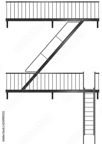 Valokuva Drawing of the fire escape for the facade