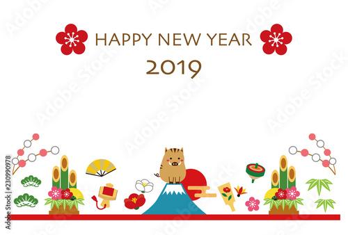 Tela  2019年 亥年 年賀状 テンプレート