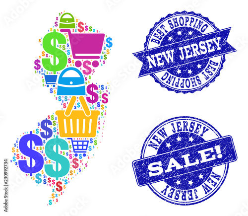 Best shopping composition of mosaic map of New Jersey State