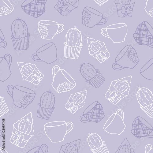 Vector Pastel Purple Cacti Tea Party Seamless Pattern