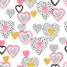 Golden And Pink Heart Pattern....