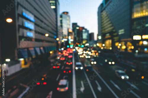Deurstickers Nacht snelweg 夕暮れの街