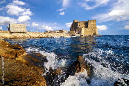 Garden Poster Napels Castle dell ovo or castel dellovo famous historical landmark in Naple Italy Campania