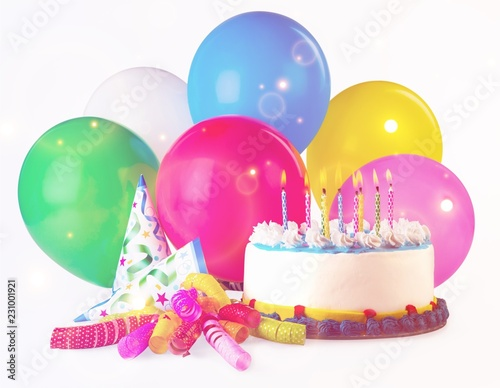 Photo  Birthday cake with candles and balloons