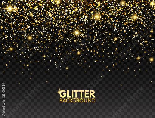 Glitter background. Gold glitter particles effect for luxury greeting card. Sparkling texture. Christmas bright design for web banner, poster, flyer, invitation. Star dust. Vector illustration Fototapete