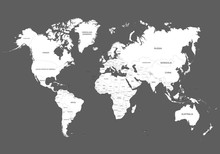 World Map Outline Contour Silhouette. Сountry Names In English.  Vector Illustration Isolated On Gray Background. Asia In Center.