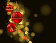 Christmas Background. Three Red Baubles With Golden Decoration On Dark Bokeh Background With Space For Text.