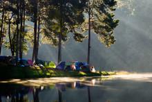 Morning View With Reflection And Beam At The Royal Initiative Project Pang Tong (Pang Ung), Mae Hong Son, Thailand