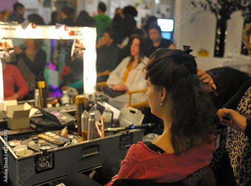 Fotomural salon de coiffure, cheveux, coiffure, femme, démonstration, élégance, miroir, co