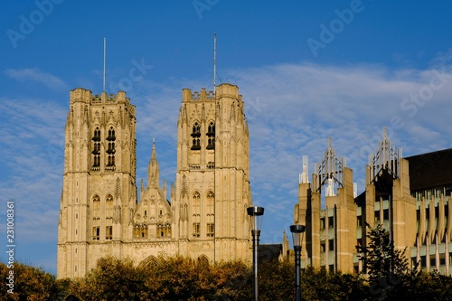 Cathedrale des Saints Michel et Gudule, Cathedral of St Michael and St Gudula, Brussels, Belgium, Europe
