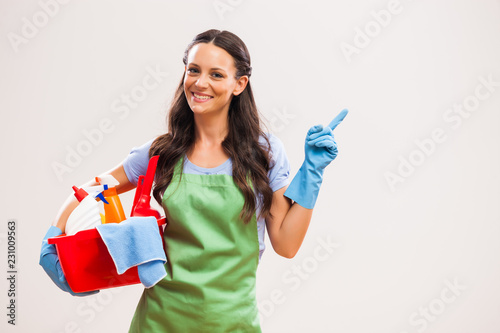 Portrait of housewife who is ready for housework.