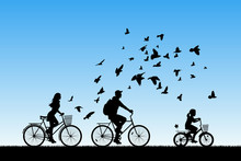 Family On Bikes In Park. Active Rest Of Parents With Child. Vector Illustration With Silhouettes Of Cyclists And Flying Pigeons. Blue Pastel Background