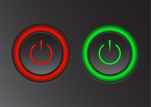 Power Icon. Vector Illustration On Dark Background. Power Button Logo.