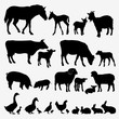 Farm animals. Set of silhouettes of domestic animals.