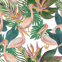 Watercolor Painitng Seamless Pattern With Tropical Flowers, Leaves And Pelican Birds