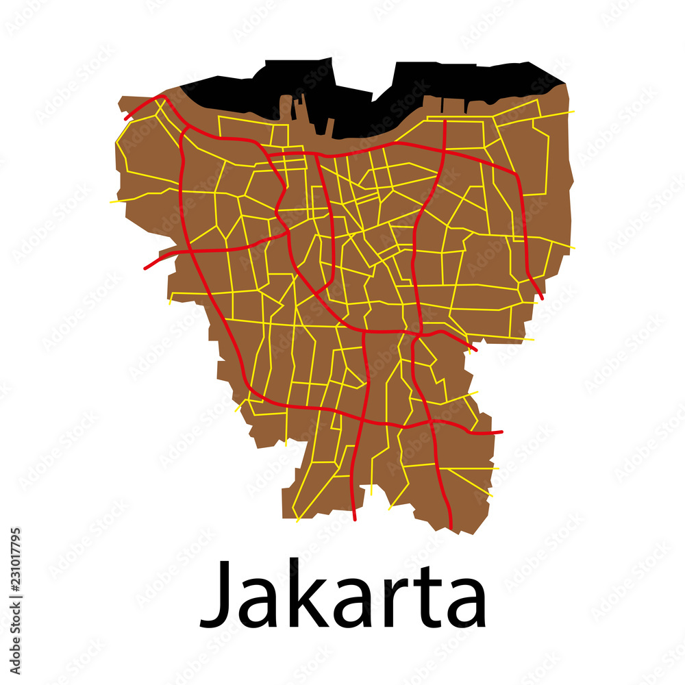 Flat outline map of the Indonesian capital Jakarta Foto, Poster ...