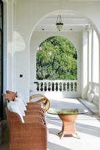 White Modern Porch Wooden Design Exterior Home Garden Empty Architectural